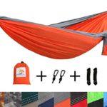 Patio Watcher Single Double Camping Hammock Ultralight Portable Nylon Parachute Hammocks for Backpacking, Travel, Hiking, Patio, Outdoor, Orange/Grey