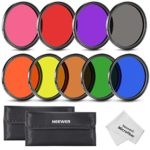 Neewer 58MM Complete Full Color Lens Filter Set (9pcs) for Camera Lens with 58MM Filter Thread – Includes: Red, Orange, Blue, Yellow, Green, Brown, Purple, Pink and Gray ND Filters + Filter Carry Pounch + Microfiber Lens Cleaning Cloth
