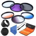 K&F Concept 55mm 6pcs Lens Accessory Filter Kit UV Protector Circular Polarizing Filter for Sony A37 A55 A57 A65 A77 A100 DSLR Cameras – Includes Filter Kit( UV+CPL+FLD,Graduated Color Blue,Orange,Gray) + Microfiber Lens Cleaning Cloth + Petal Lens Hood + Center Pinch Lens Cap/Cap Keeper + Filter Bag Pouch