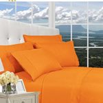 Elegant Comfort 1500 Series Luxurious Silky Soft WRINKLE RESISTANT 4 pc Sheet set, Deep Pocket Up to 16″ – All Size and Colors , Queen, Elite Orange