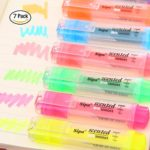 7 Colors Fruity Odour Highlighters, Yellow, Pink, Orange, Green, Red, Blue and Purple, Fluorescent Marker Colored Water Pen, Pack of 7