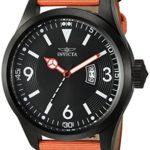 Invicta Men's 'Aviator' Quartz Stainless Steel and Nylon Casual Watch, Color:Orange (Model: 19420)