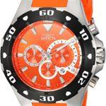 Invicta Men's 'Pro Diver' Quartz Stainless Steel and Polyurethane Casual Watch, Color:Orange (Model: 24680)