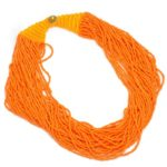 Fashion Orange Color Strand Handmade Multilayer Seed Beads Pendant Necklace Jewelry