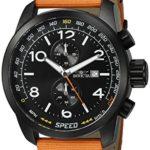 Invicta Men's 'Aviator' Quartz Stainless Steel and Nylon Casual Watch, Color:Orange (Model: 19412)