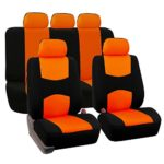 FH GROUP FH-FB050115 Full Set Flat Cloth Car Seat Covers Orange / Black Color- Fit Most Car, Truck, Suv, or Van