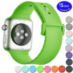 Sundo 42mm M/L Soft Silicone Replacement Wristband Bracelet Band for Apple Watch Nike+ & Sport & Edition,Series 2, Series 1(GREEN 42mm)