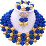 laanc Womens Fashion Gold Plated 3 Rows Nigerian Beads African Wedding Bridal Jewelry Sets