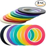 Nova Supplys 1/4in x 60yd Masking Tape, 8 Color Value Pack. Professional Grade Adhesive is Super Thin, Conforms to Irregular Surfaces, Is Easy to Tear & Release for Labeling, Painting, & Decorating.
