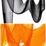 Halloween Creepy Cloth Party Decor Drape Doorways Entryways Windows Cover Gauze 10 Yards X 30″ Include two colors (10 Yards X 30″, black + orange)