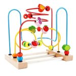 Classic Circle Bead Maze Activity Center for Toddlers Wooden Educational Development Toys for Kids, Shape and Color Sorter, Roller Coaster
