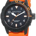 Nautica Men's 'NSR 106' Quartz Stainless Steel and Silicone Casual Watch, Color:Orange (Model: NAD10082G)