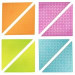 Premium Clear Colors Blue, Green, Magenta, and Orange 6″ x 6″ Triangle Stackable Baseplate 8 Pack – Compatible with All Major Brands