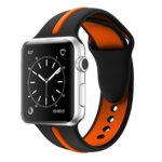 Apple Watch Band, Solomo [Sport Series] Fashion iWatch Strap Soft Durable Silicone Replacement Stripe Color Splicing Style with Women / Men Wristband for Apple Watch Nike+,Series 3 /2 /1 (38MM Orange)