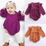 Mother's Angel Infant Romper Baby Girl Twins Outfit Long Sleeve Ruffle Bodysuit