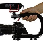 Cam Caddie Scorpion Jr Stabilizing Camera Handle for DSLR and GoPro Action Cameras – Professional Handheld U/C-Shaped Grip with Integrated Accessory Shoe Mount for Microphone or LED Video Light – Includes: Smartphone / GoPro Adapters and 1/4-20 Threaded Mounting Knob – Black