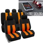 FH GROUP FH-FB036115 Striking Striped Seat Covers, Orange / Black Color with FH GROUP FH1002 Non-slip Dash Grip Black Pad Mat – Fit Most Car, Truck, Suv, or Van