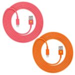 iPhone Lightning Cables, High Speed Heavy Duty 6-feet USB 3.0 to Lightning Charger 8-Pin Sync Charge Cord for iPhone 7, 7 Plus, 6S, 6S Plus, iPad (Pink Orange)