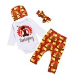 Clearance! Napoo Thanksgiving Newborn Kid Baby Girl Outfits Clothes Letter Romper+Pants+Hat+Headband Set (Yellow, 12 Months)