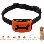 No Bark Dog Training Collar New Electirc Shock Sound Vibration Safe Humane USB Recharge Waterproof Auto LCD No Barking Collar 7 Adjustable Sensitivity S M L Dog Correction Collar 3 colors(Orange)