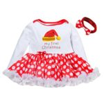 Clearance! Napoo Newborn Baby Girl Romper Podka Dot Tutu Dress+Headband Christmas Outfits Clothes (Red, 3 Months)