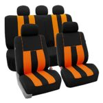 FH GROUP FH-FB036115 Striking Striped Seat Covers Airbag & Split Ready, Orange / Black Color- Fit Most Car, Truck, Suv, or Van