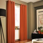 Gorgeous Home *DIFFERENT SOLID COLORS & SIZES* (#72) 1 PANEL SOLID THERMAL FOAM LINED BLACKOUT HEAVY THICK WINDOW CURTAIN DRAPES BRONZE GROMMETS (ORANGE, 84″ LENGTH)