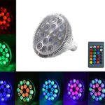LMCO LED Spotlight 18W Light Bulb Lamp 18 Leds E27 Base PAR38 RGB Dimmable 16 Colors Changing with Remote Control for Home Decoration/Bar/Party/KTV Mood Ambiance Lighting (18W)