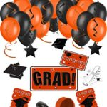 Congrats Grad 38pc Decoration Graduation Pack – School Colors Orange Black