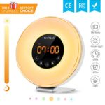Sunrise Alarm Clock with FM Radio & Snooze Function For Adults & Kids,6 Nature Sounds for Heavy Sleepers,7 Changing Colors for Mood Light,10 Brightness for Night Light